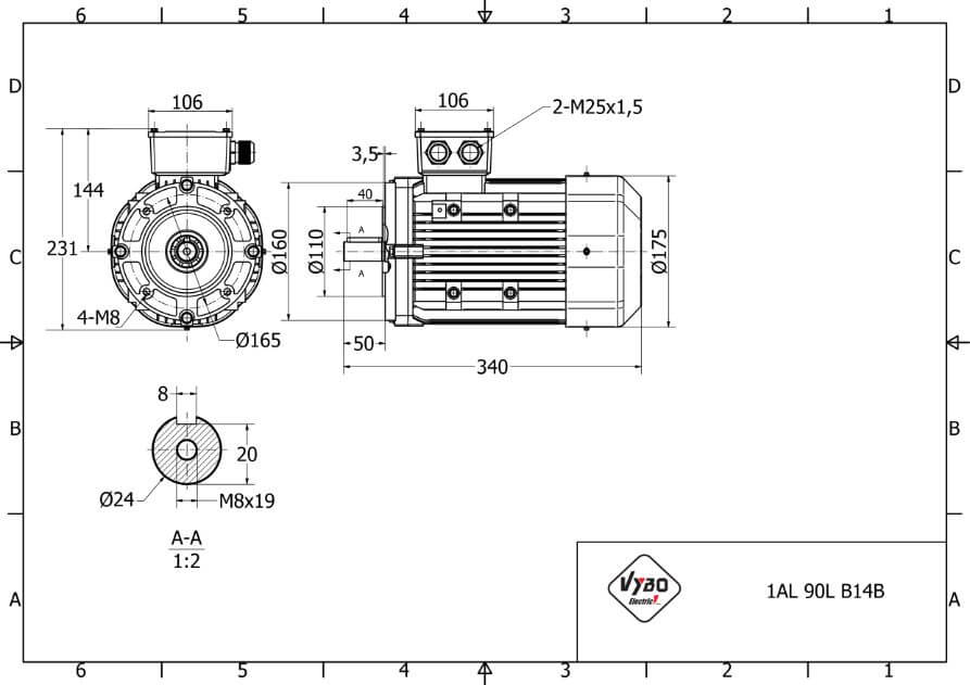 rozmerový výkres elektromotor 1,1kw 1AL90L-6