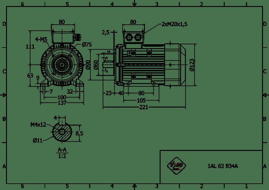 rozmerový výkres elektromotor 0,18kw 1AL63S-2