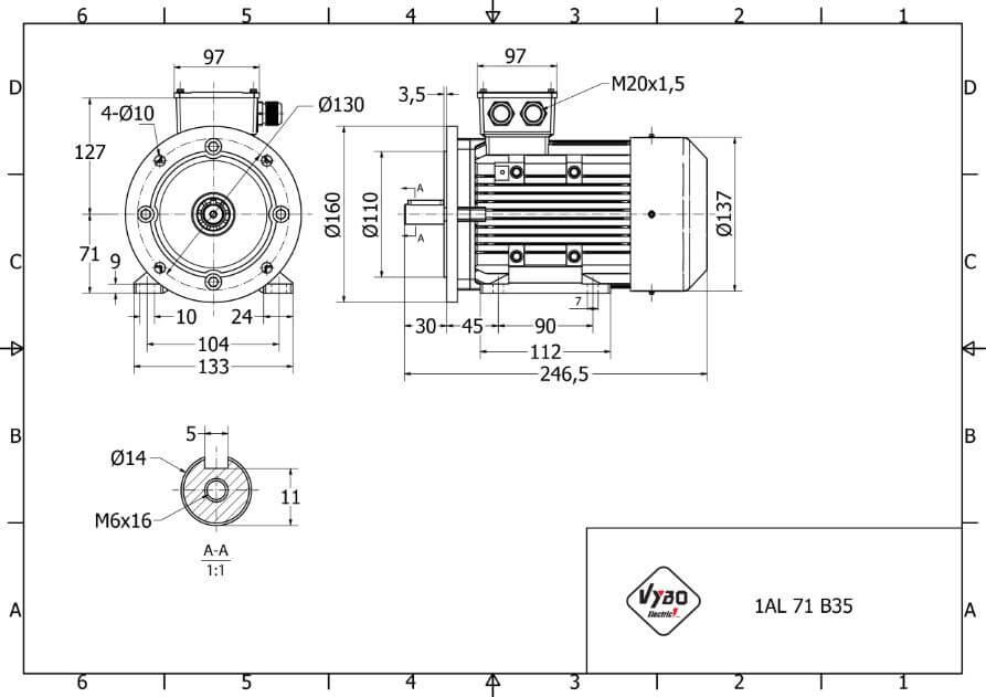 rozmerový výkres elektromotor 0,18kw 1AL71S-6