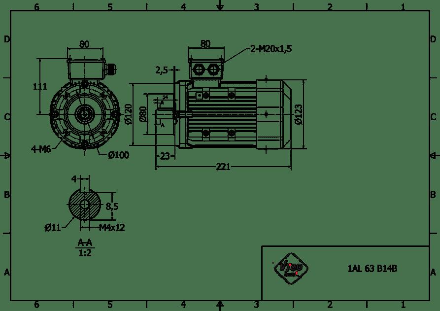 rozmerový výkres elektromotor 0,25kw 1AL63L-2