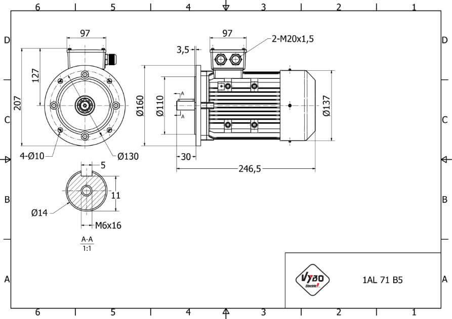 rozmerový výkres elektromotor 0,37kw 1AL71S-2