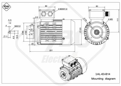 rozmerový výkres elektromotor 1AL 63 B14 online