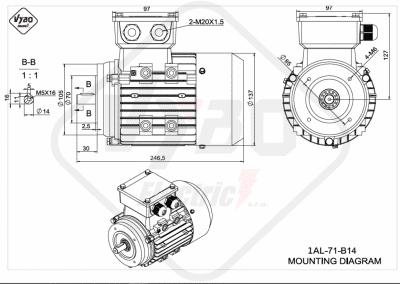 rozmerový výkres elektromotor 1AL 71 B14 online
