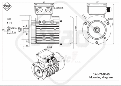 rozmerový výkres elektromotor 1AL 71 B14B online