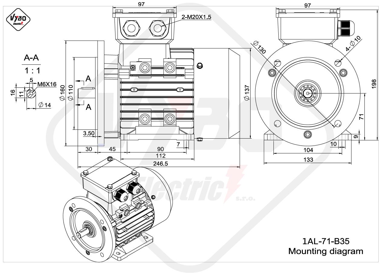 rozmerový výkres elektromotor 1AL 71 B35 online