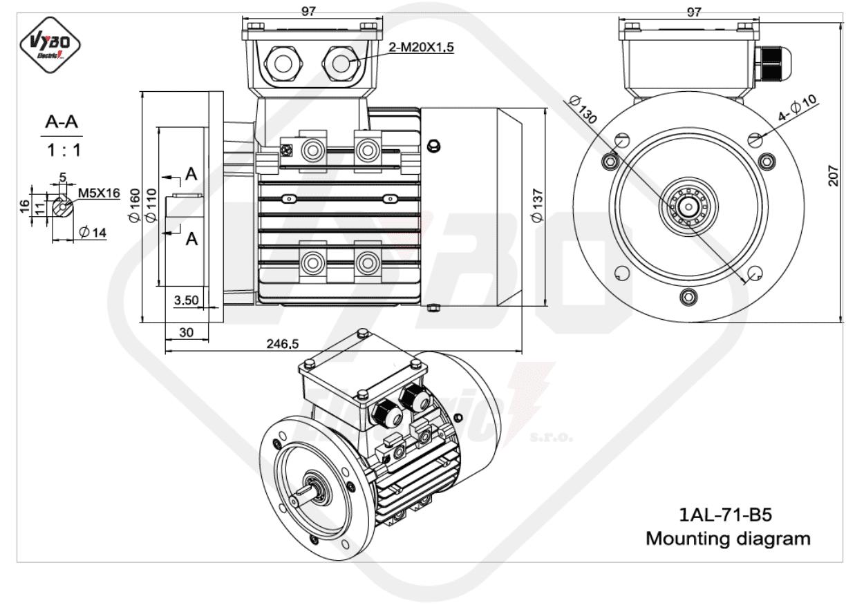 rozmerový výkres elektromotor 1AL 71 B5 online
