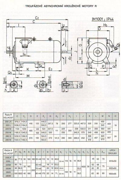 krúžkový elektromotor R rozmery