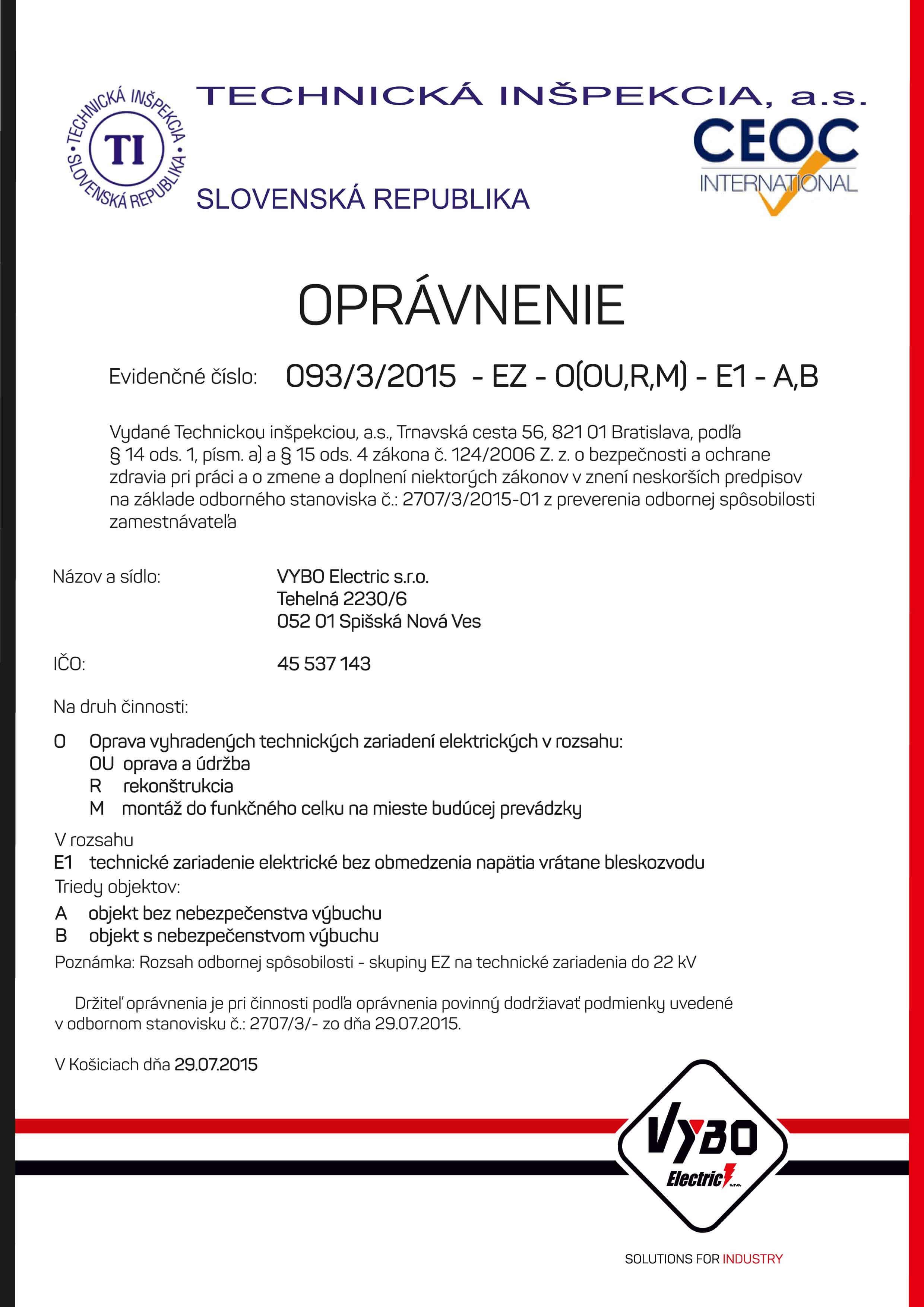 Certifikáty - VYBO Electric a.s. 4301cea2302
