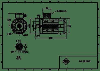 rozmerový výkres elektromotor 0,12kw 1AL56B-2