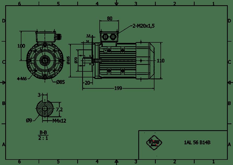 rozmerový výkres elektromotor 0,09kw 1AL56A2