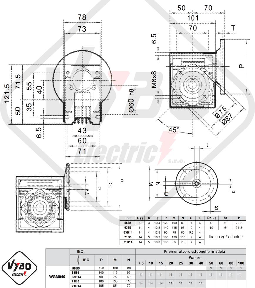 šneková elektroprevodovka wgm040