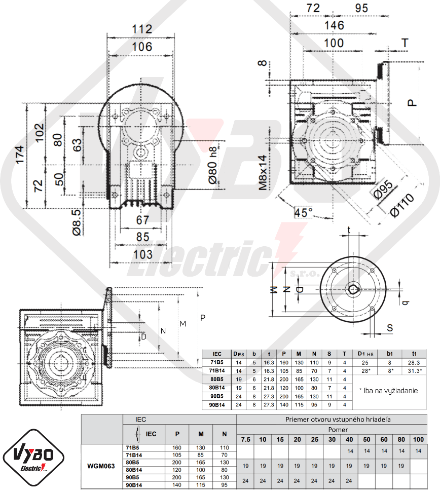 šneková elektroprevodovka wgm063