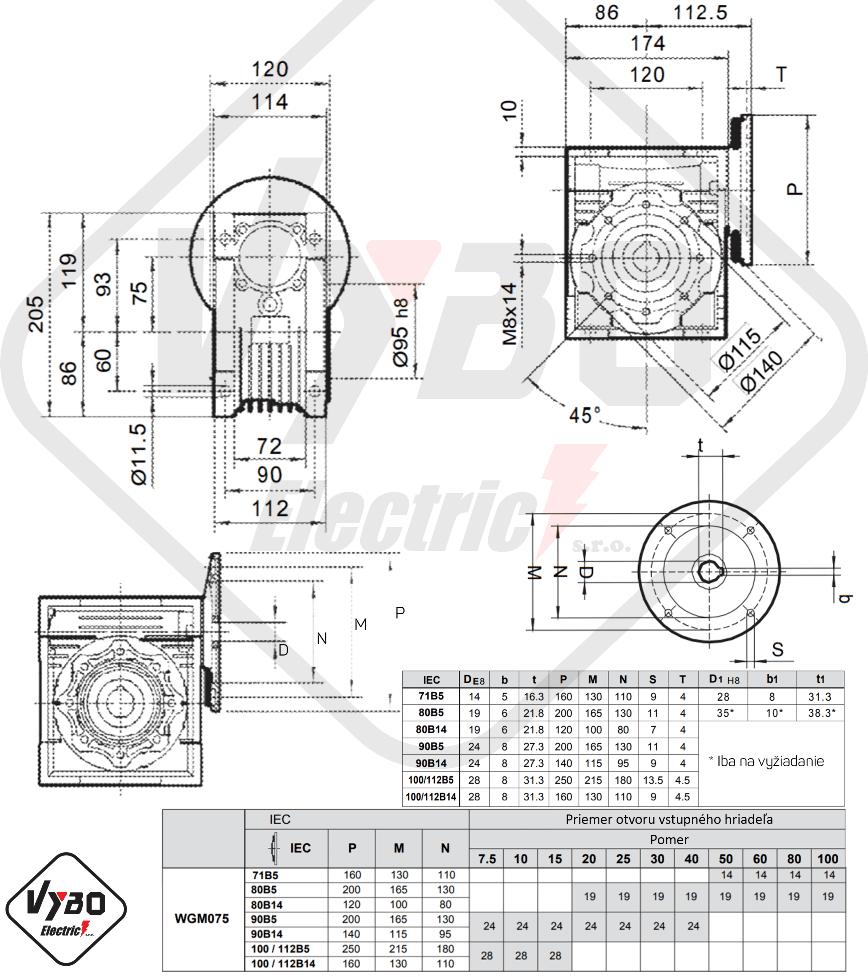 šneková elektroprevodovka wgm075