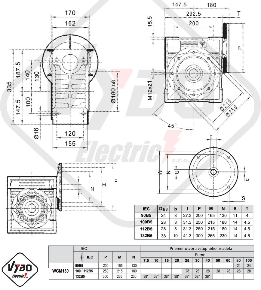 šneková elektroprevodovka wgm130