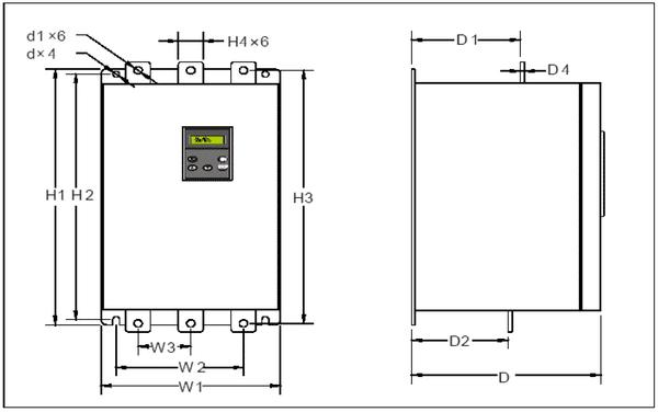 softštartér Kinetics SSZ-110-3 rozmery