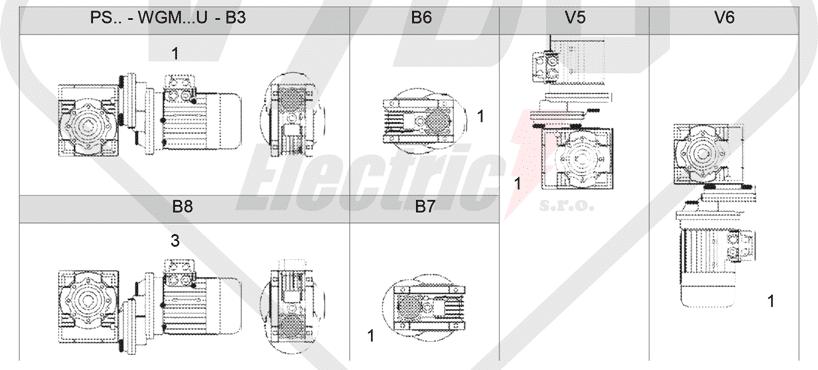 montážne polohy čelná medziprevodovka PS071