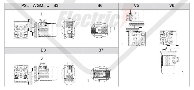 montážne polohy čelná medziprevodovka PS090