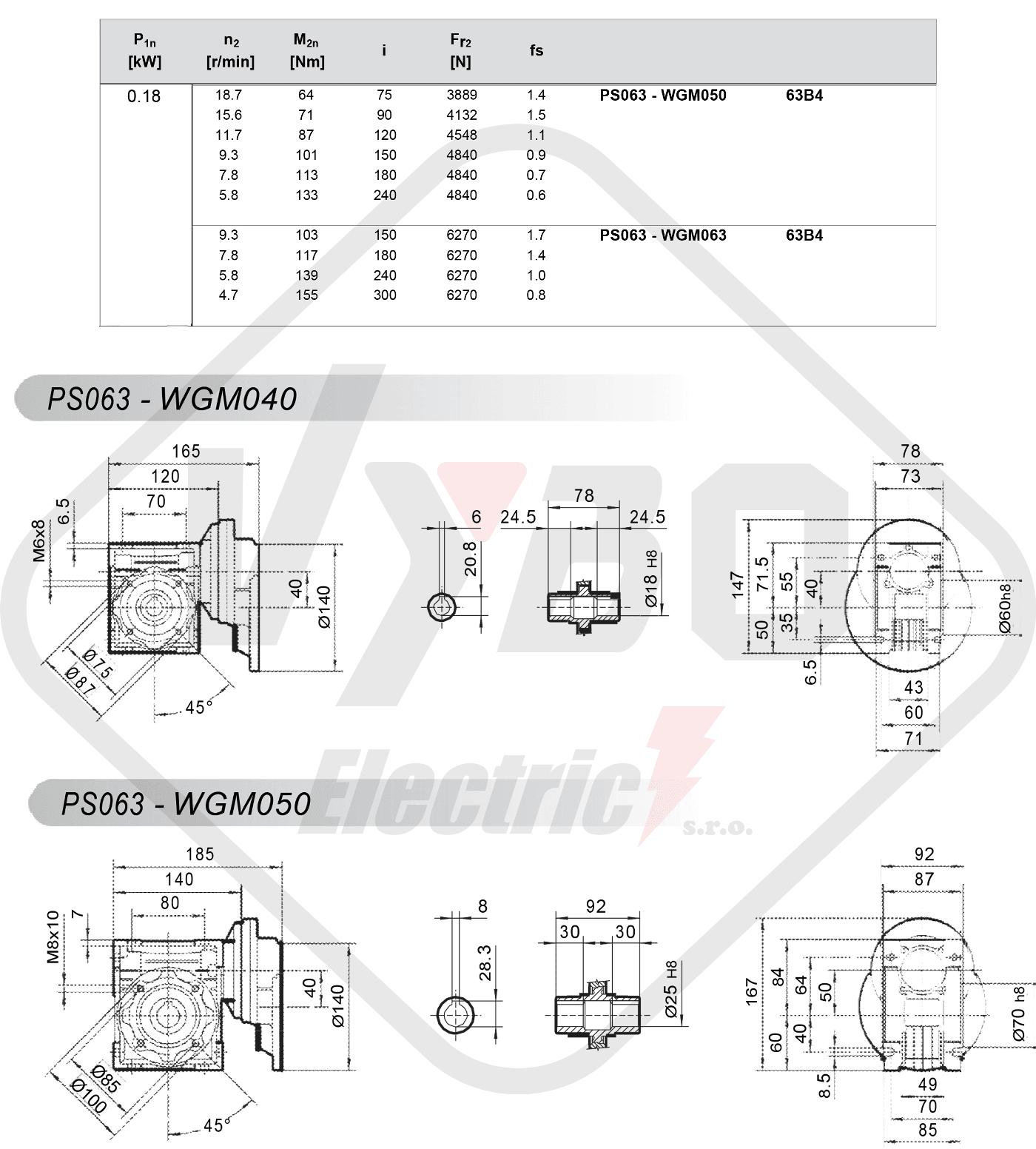 parametre výkonu čelná medziprevodovka PS063