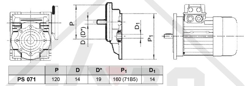 rozmerový výkres čelná medziprevodovka PS071