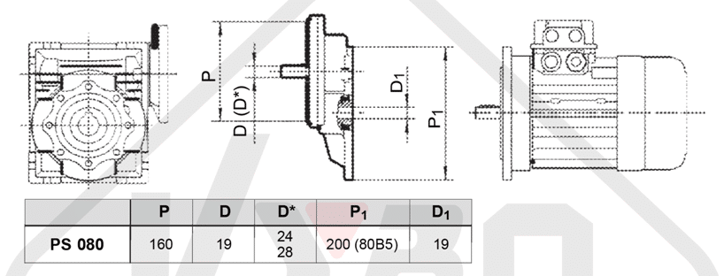 rozmerový výkres čelná medziprevodovka PS080
