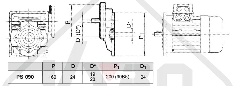 rozmerový výkres čelná medziprevodovka PS090