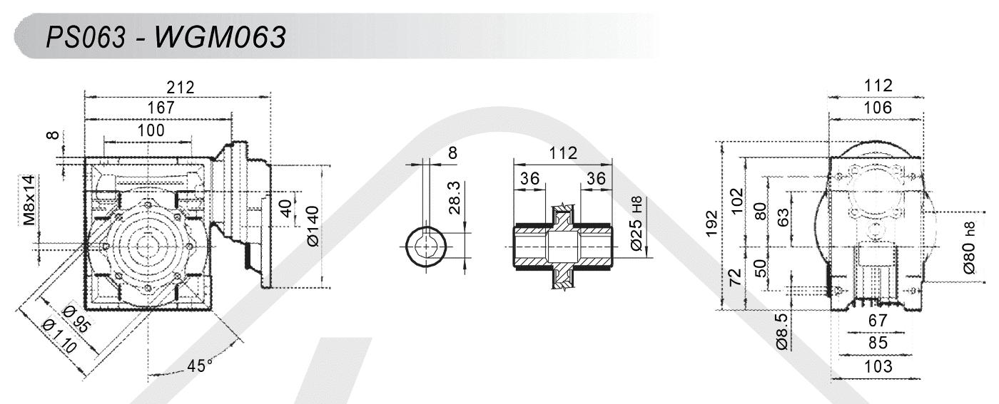 schéma zapojenia čelná medziprevodovka PS063