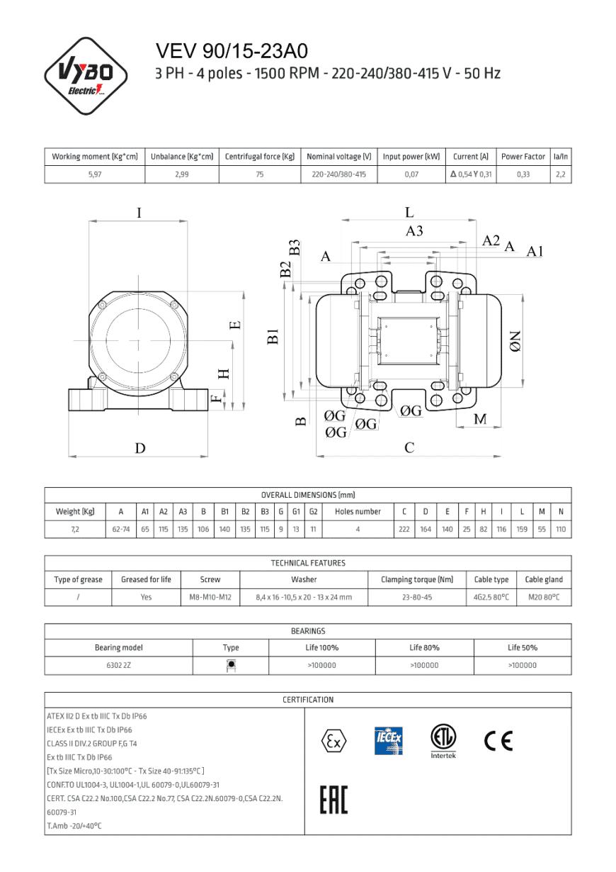 vibračný motor vibromotor VEV 90-15E-23A0